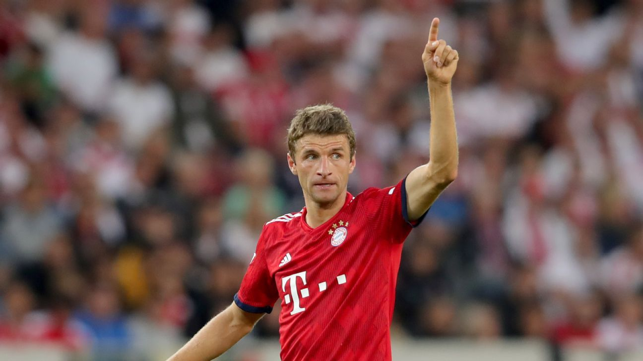 Bayern Munich's Thomas Muller during a Bundesliga game against Stuttgart.