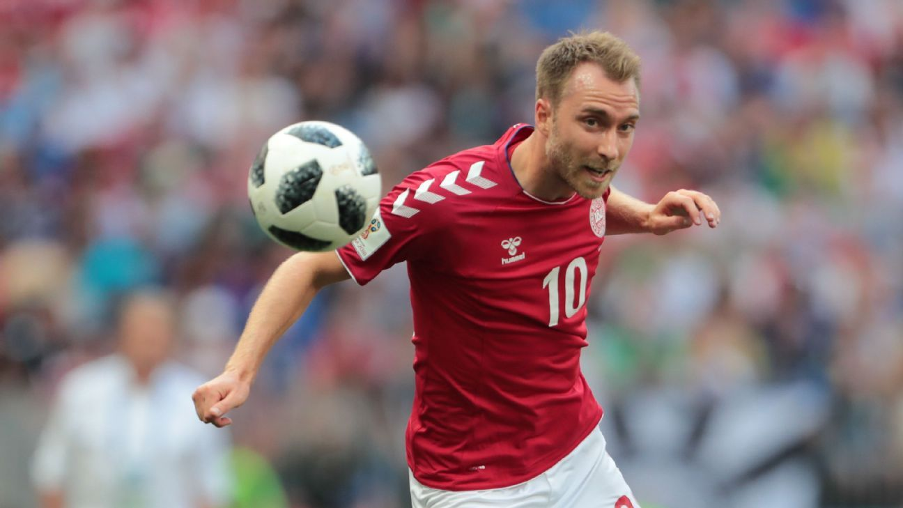 Denmark's Christian Eriksen during the World Cup game against France.