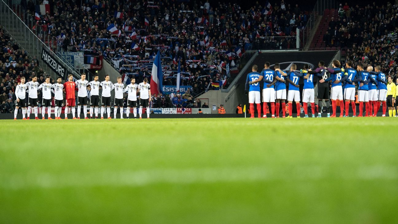 Germany and France players line up ahead of an international friendly.