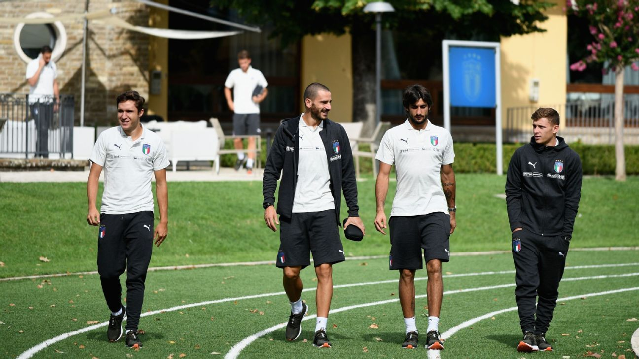 Federico Chiesa, Leonardo Bonucci, Mattia Perin and Nicolo Barella of Italy prepare for training.