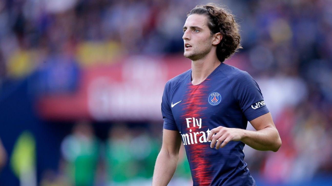 Adrien Rabiot during Paris Saint-Germain's Ligue 1 game against Angers.