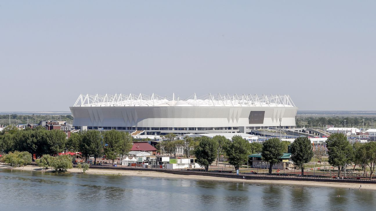 Rostov Arena ahead of the 2018 FIFA World Cup round-of-16 match between Belgium and Japan.