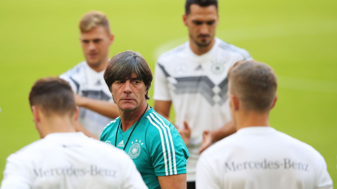 Joachim Low addresses his players during a Germany training session.