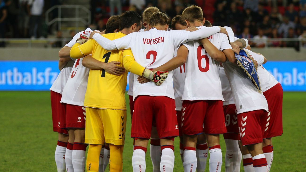 Denmark's amateur team stand together during the friendly match against Slovakia on Wednesday.