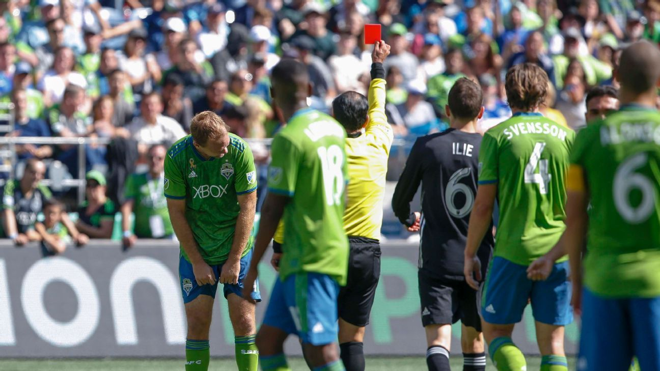 Seattle Sounders defender Chad Marshall had his red card rescinded from the match against Sporting KC.