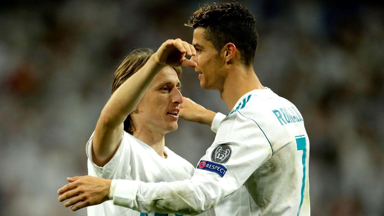 Real Madrid's Luka Modric, left, and Cristiano Ronaldo.