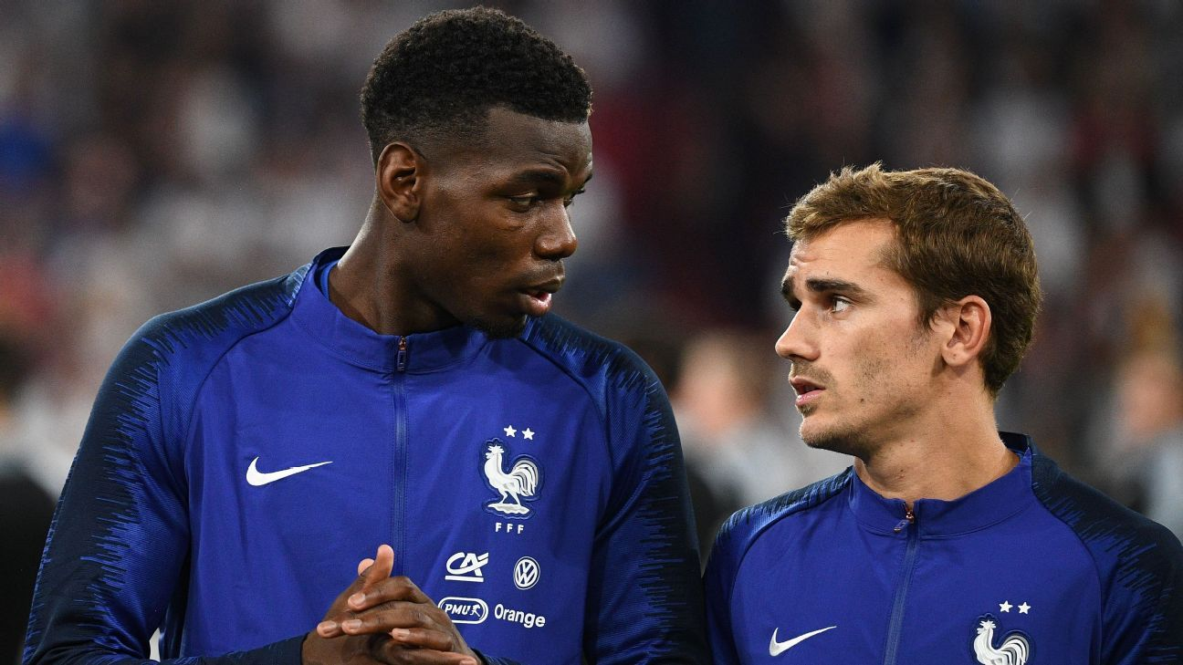 Paul Pogba and Antoine Griezmann played in France's first ever UEFA Nations League match against Germany