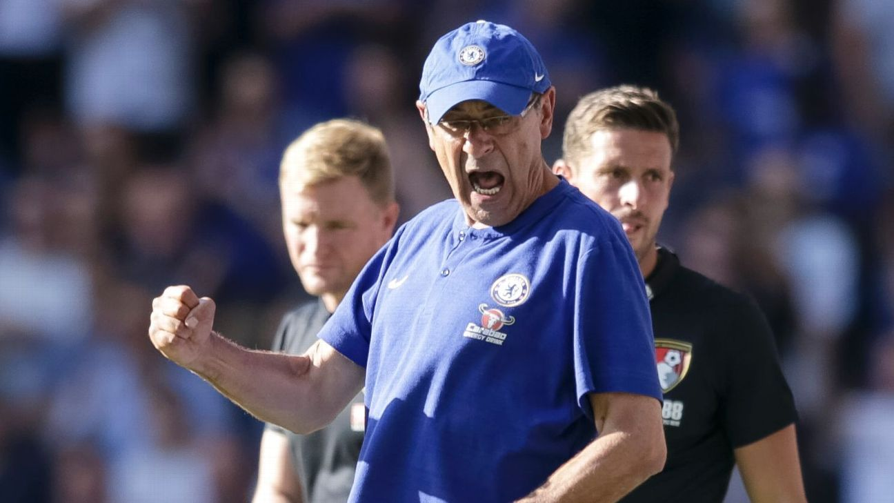 Chelsea's 2-0 win over Bournemouth made it four wins in four for new manager Maurizio Sarri.