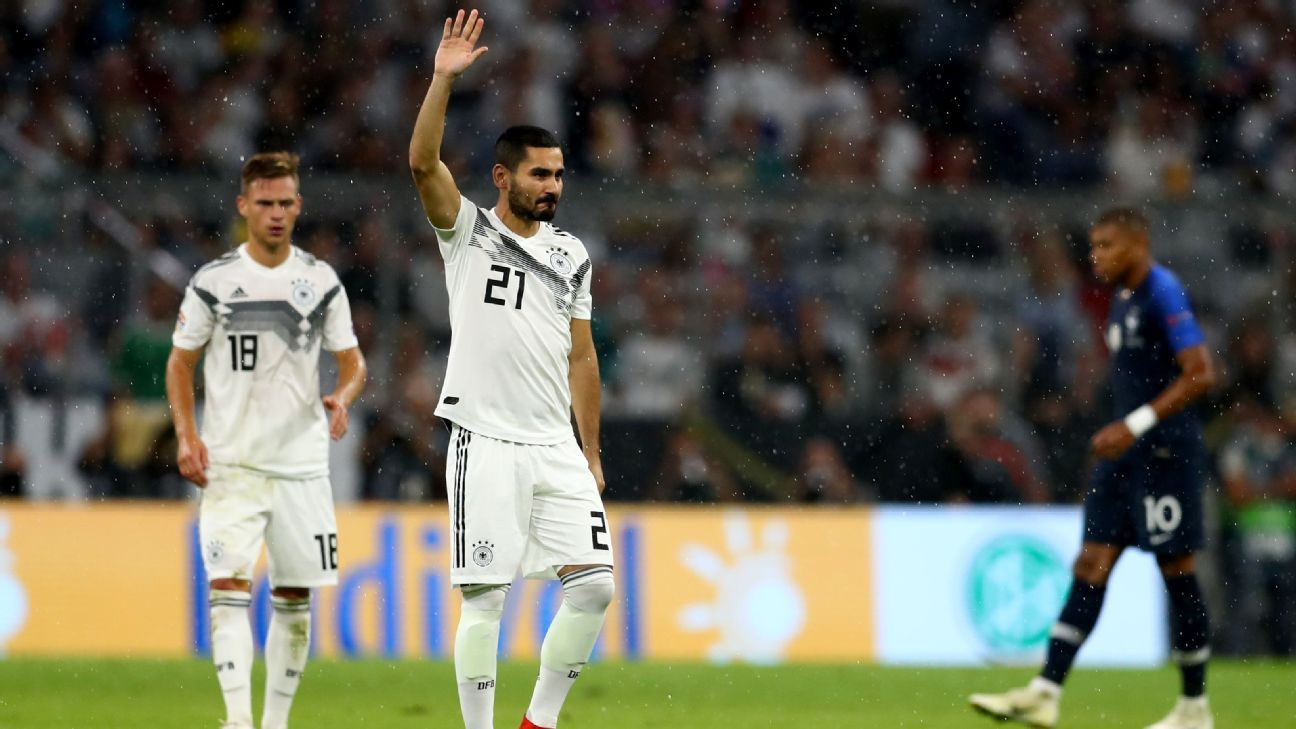 Ilkay Gundogan of Germany waves to the fans.