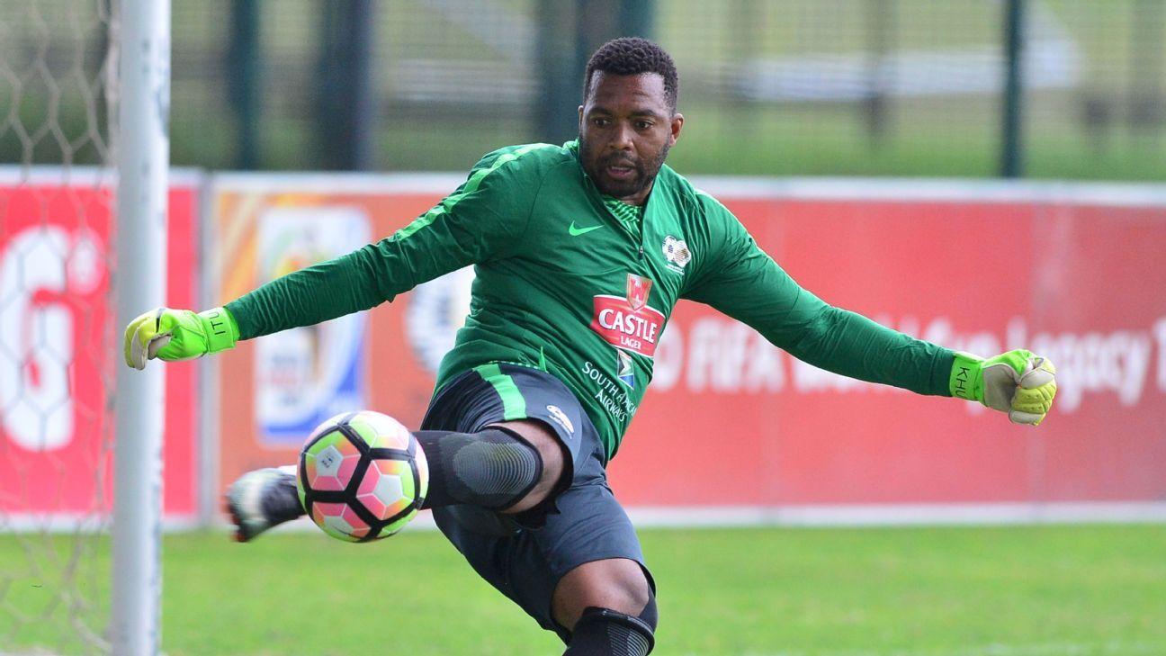 Itumeleng Khune gets an attack going for Bafana Bafana