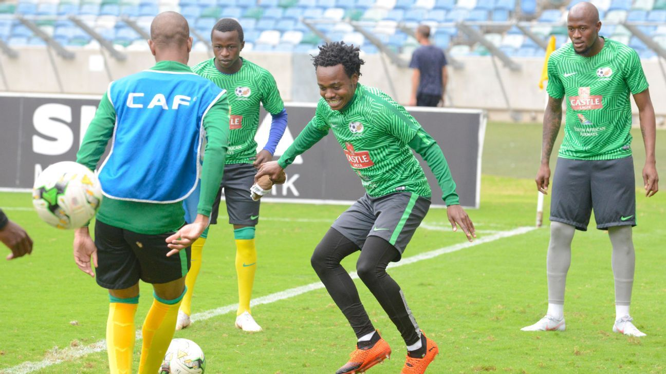 Percy Tau during the Bafana Bafana training ahead of Saturday's match in Durban