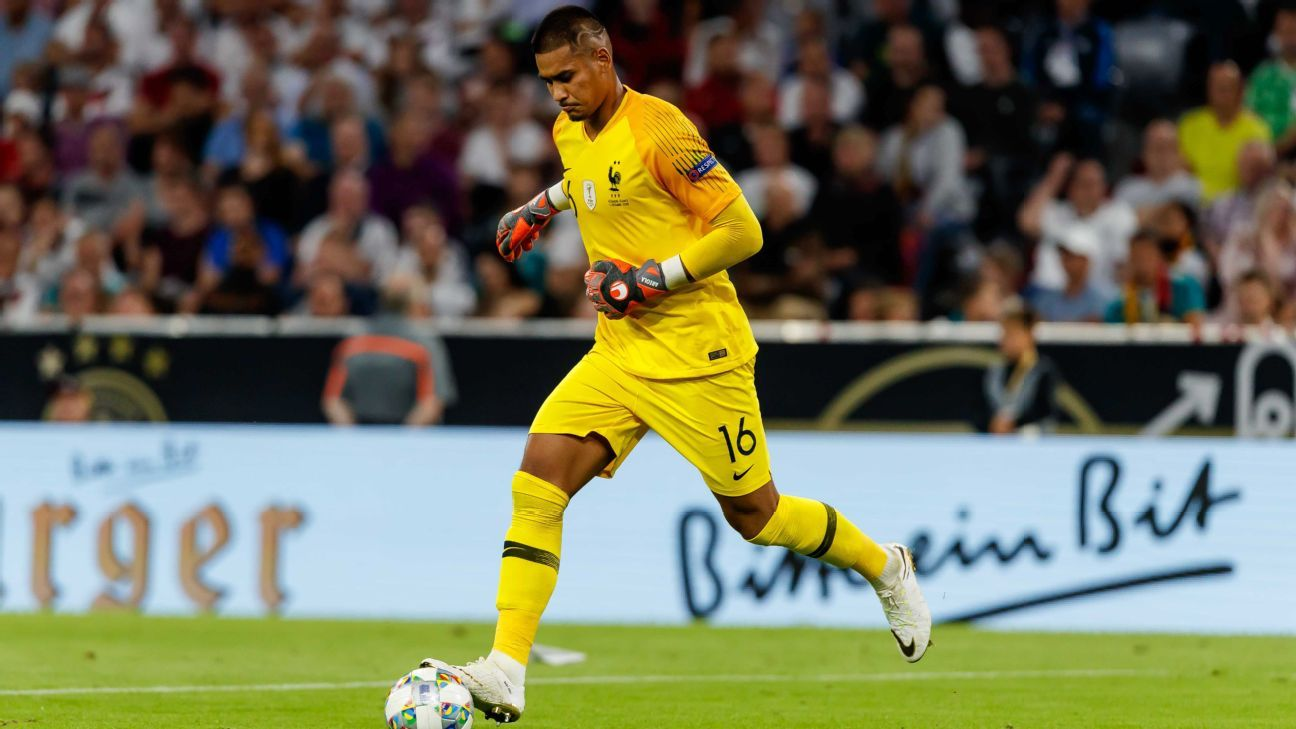 Alphonse Areola making his debut for France against Germany.