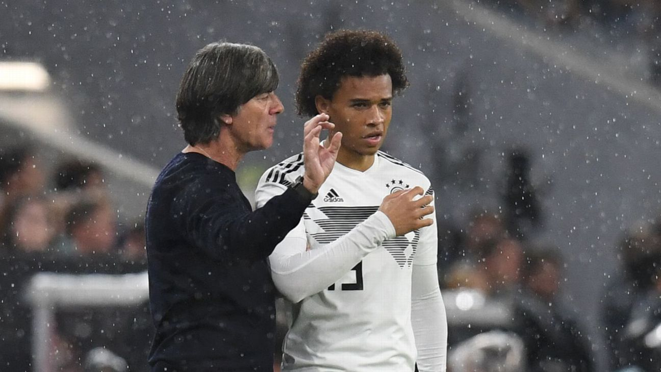 Germany's Leroy Sane, right, speaks with coach Joachim Low.