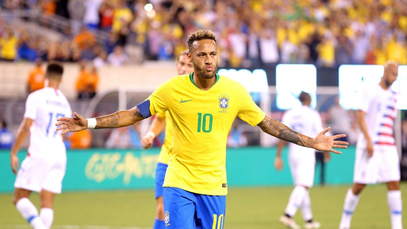 Neymar celebrates Brazil's second against the United States.