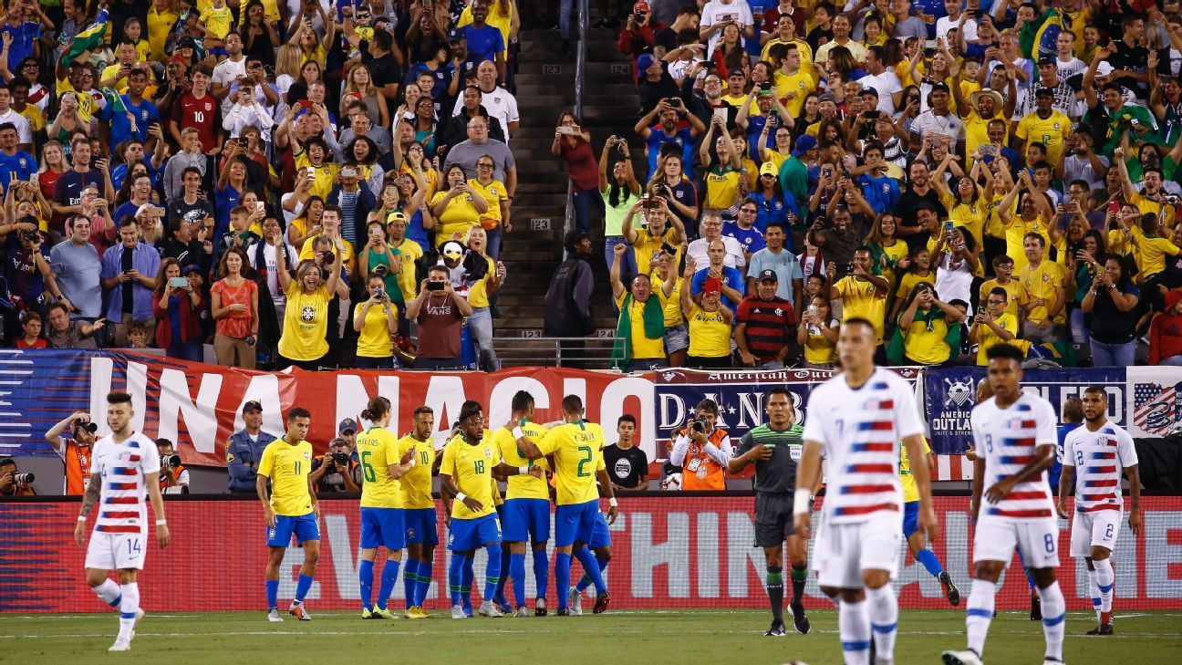 The United States were given a real reality check by Brazil at MetLife Stadium.