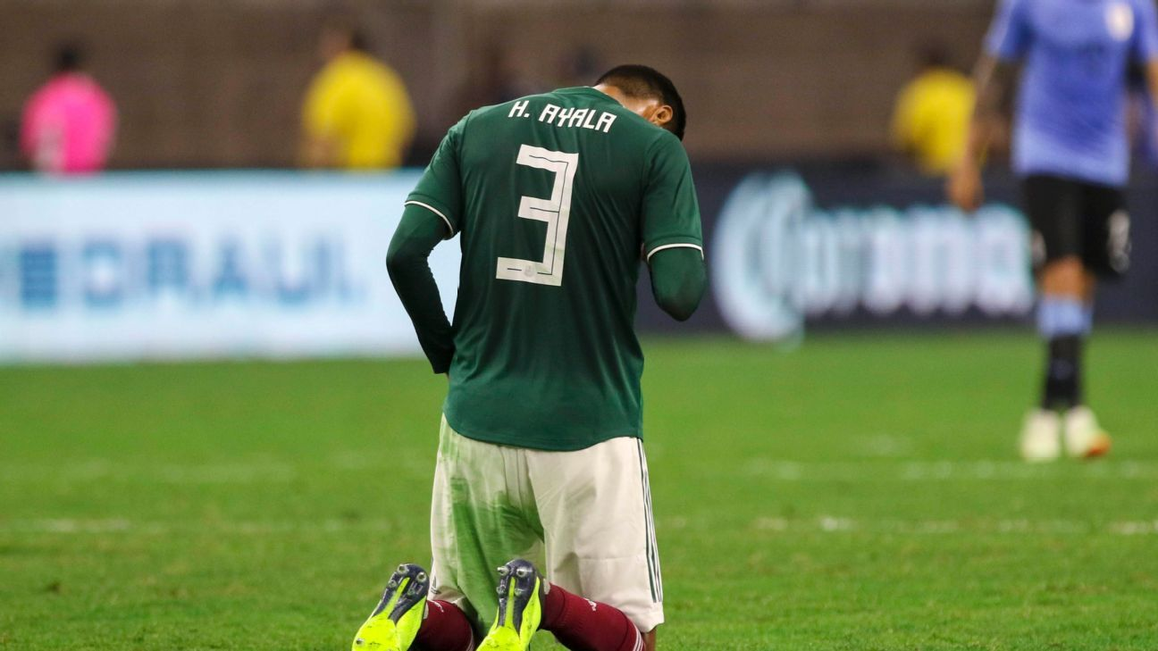 It was a tough night for Hugo Ayala and the rest of Mexico's defensive line against a strong Uruguay side.