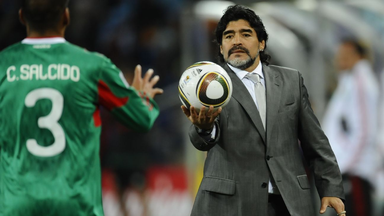 Diego Maradona coached Argentina to a World Cup round-of-16 win over Mexico in 2010