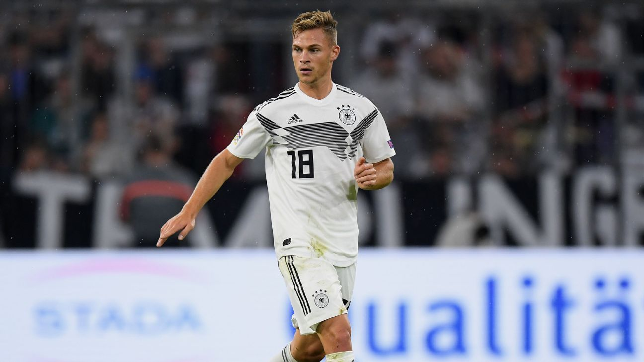 Joshua Kimmich controls the ball during Germany's UEFA Nations League game against France.