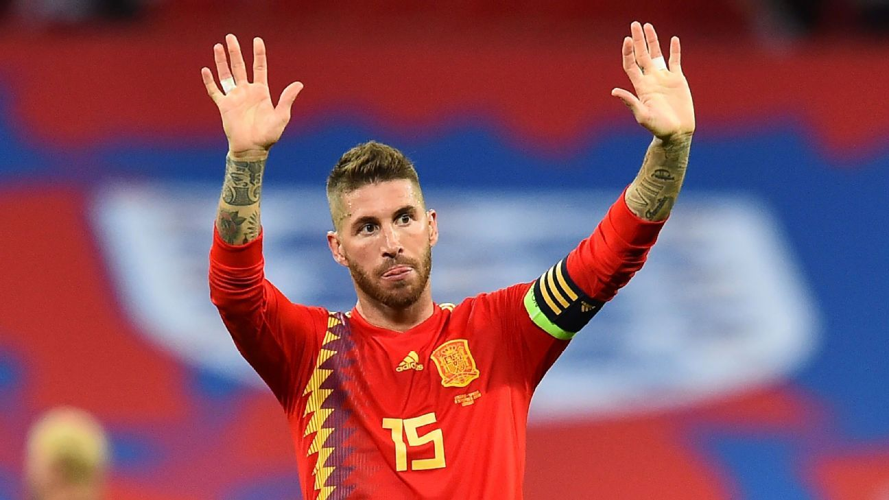 Sergio Ramos gestures to the crowd after Spain beat England in the UEFA Nations League.