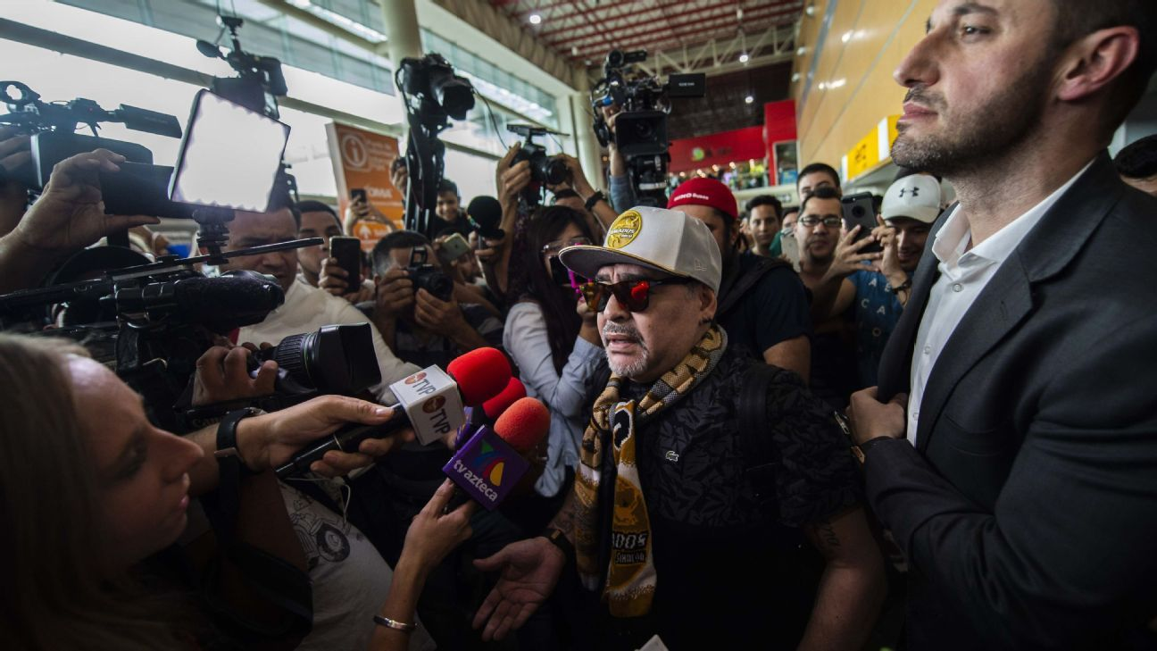 Diego Maradona arrives in Sinaloa after accepting the role of manager at second-tier Mexican club Dorados.