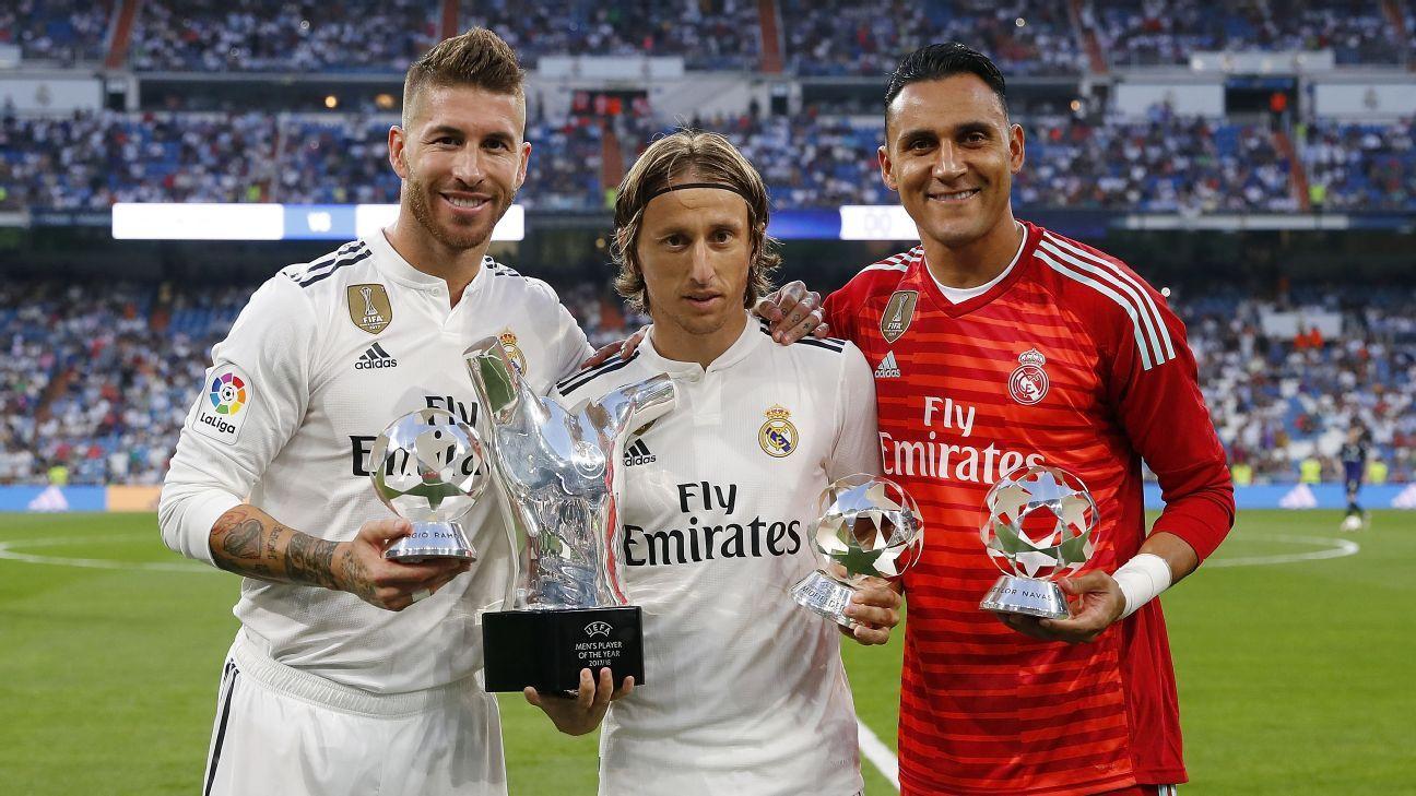 Sergio Ramos, Luka Modric and Keylor Navas with their awards