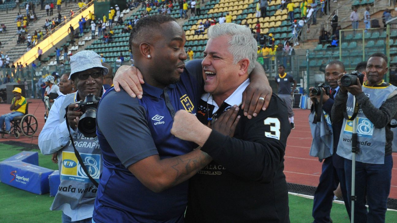 Cape Town City coach Benni McCarthy with club Chairman John Comitis