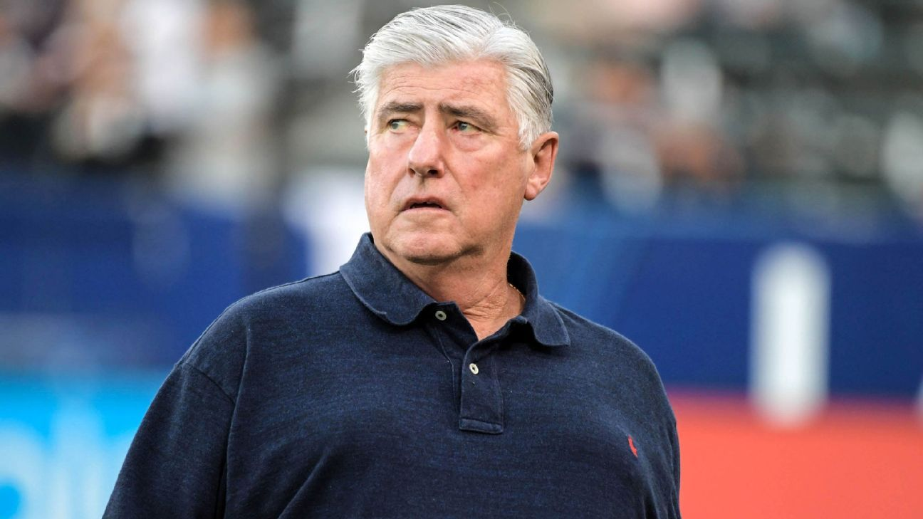 Sigi Schmid reacts during his LA Galaxy's MLS win over Columbus Crew.