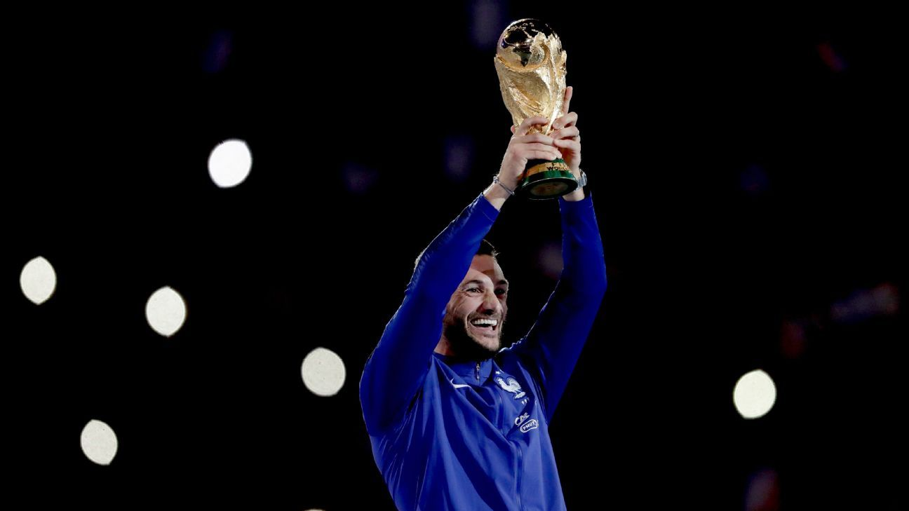 France captain Hugo Lloris lifts the World Cup trophy.