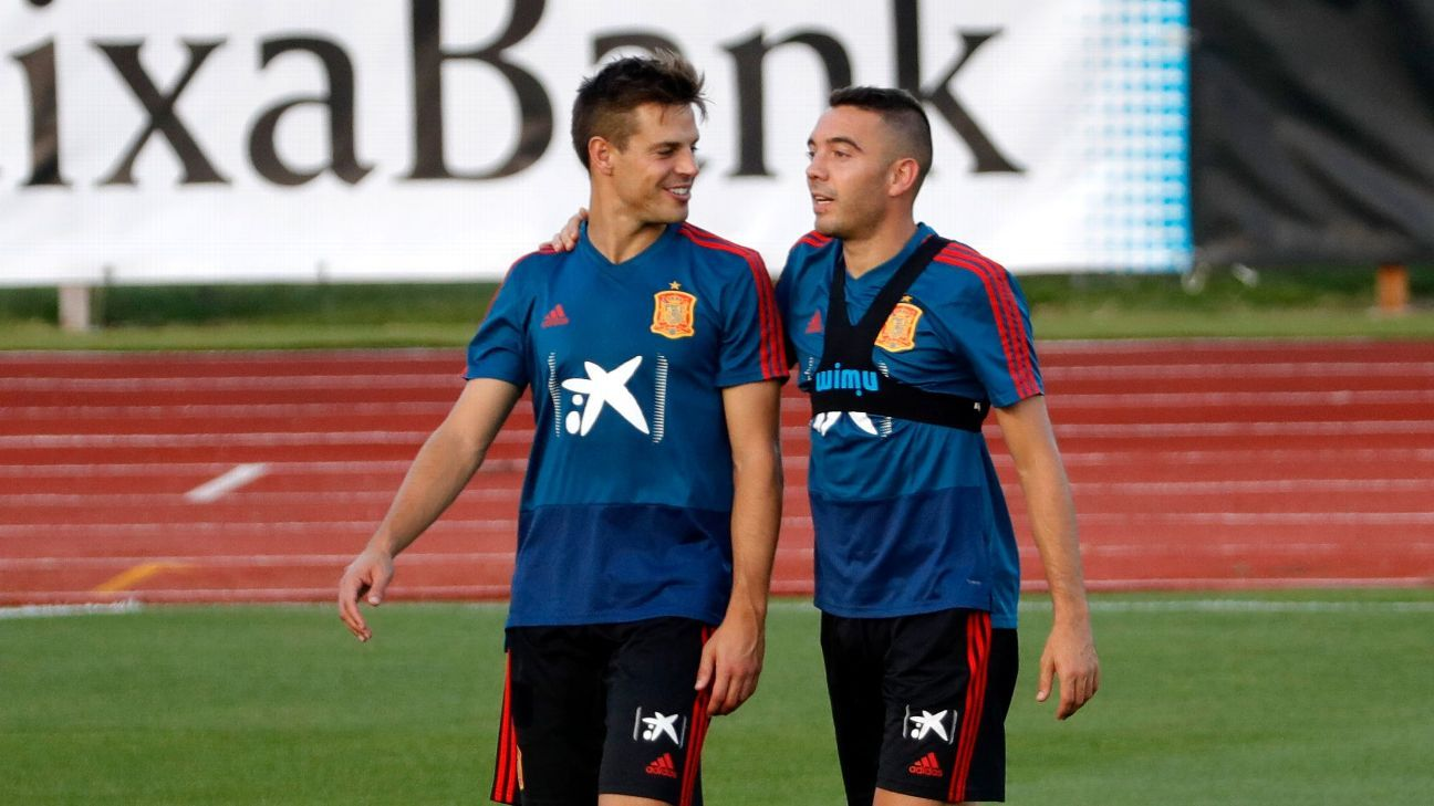 Iago Aspas in training with Spain