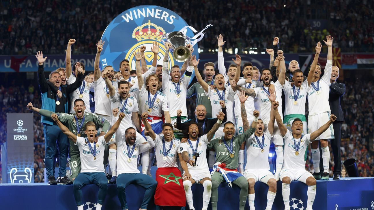 Real Madrid celebrate winning the Champions League
