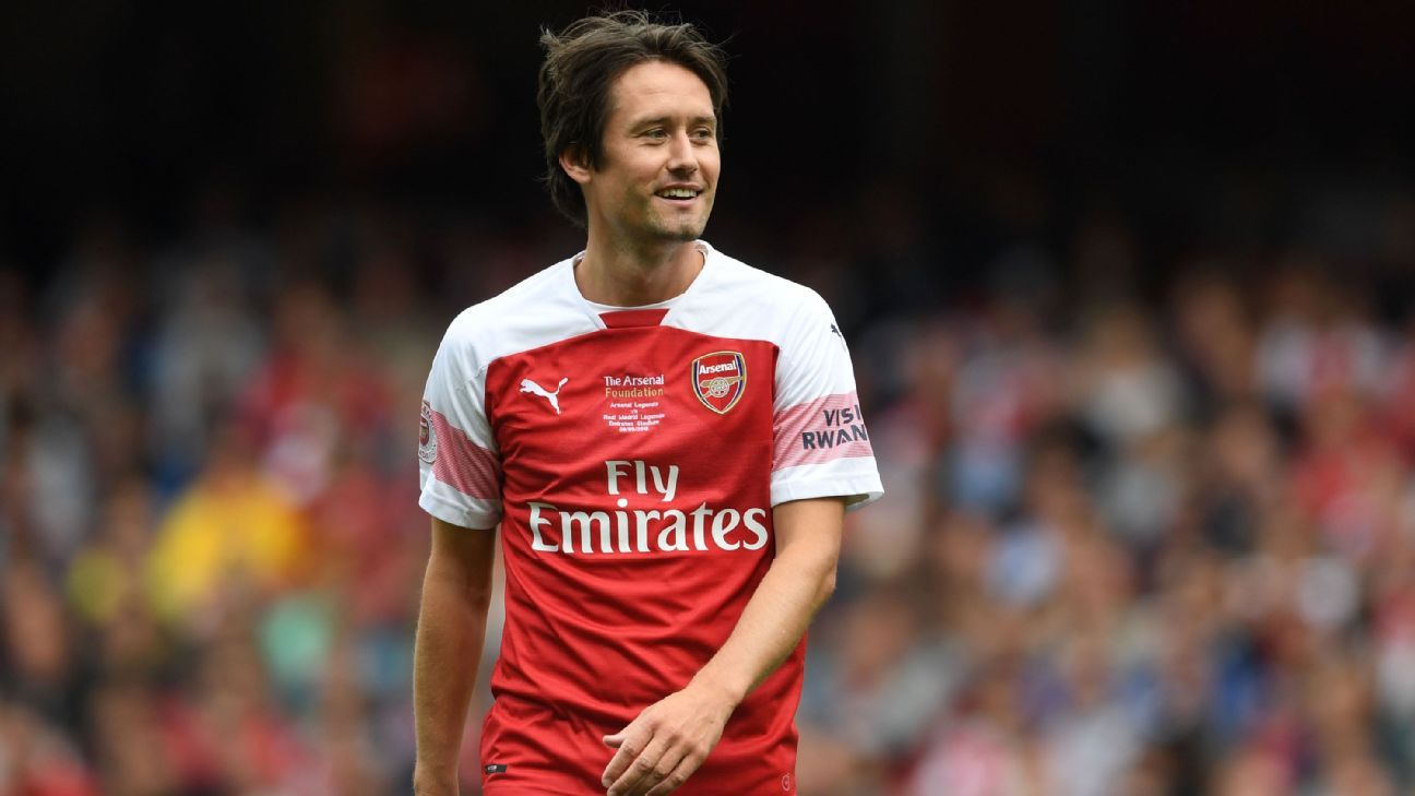 Tomas Rosicky smiles during Arsenal Legends vs. Real Madrid Legends