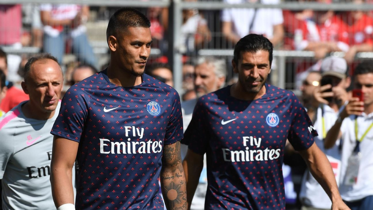 PSG's Alphonse Areola, left, and Gianluigi Buffon.