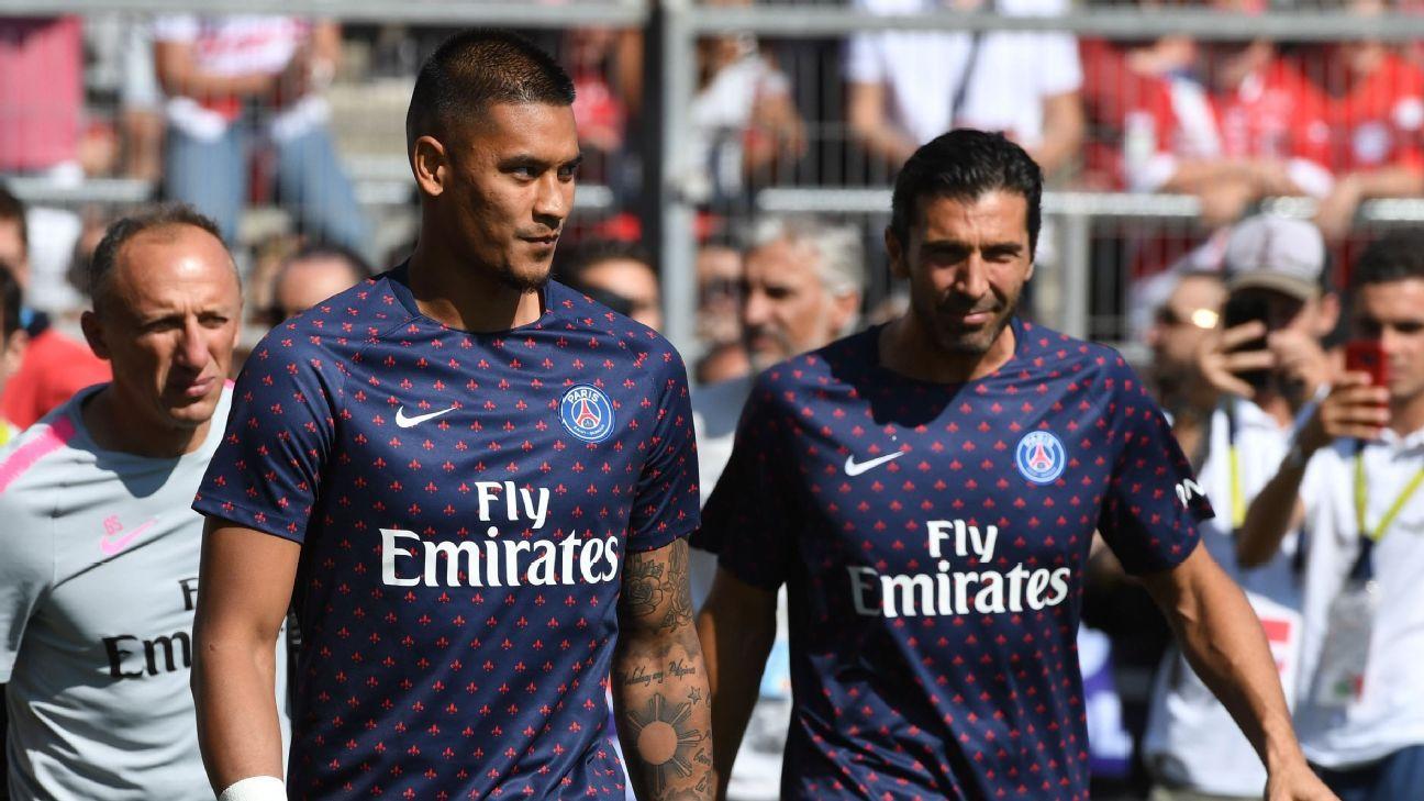 PSG's Alphonse Areola, left, and Gianluigi Buffon.