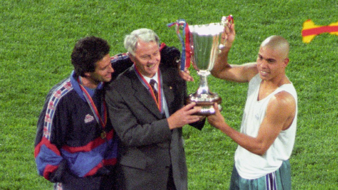 Barcelona trio Jose Mourinho, Bobby Robson and Ronaldo with the Cup Winners' Cup trophy