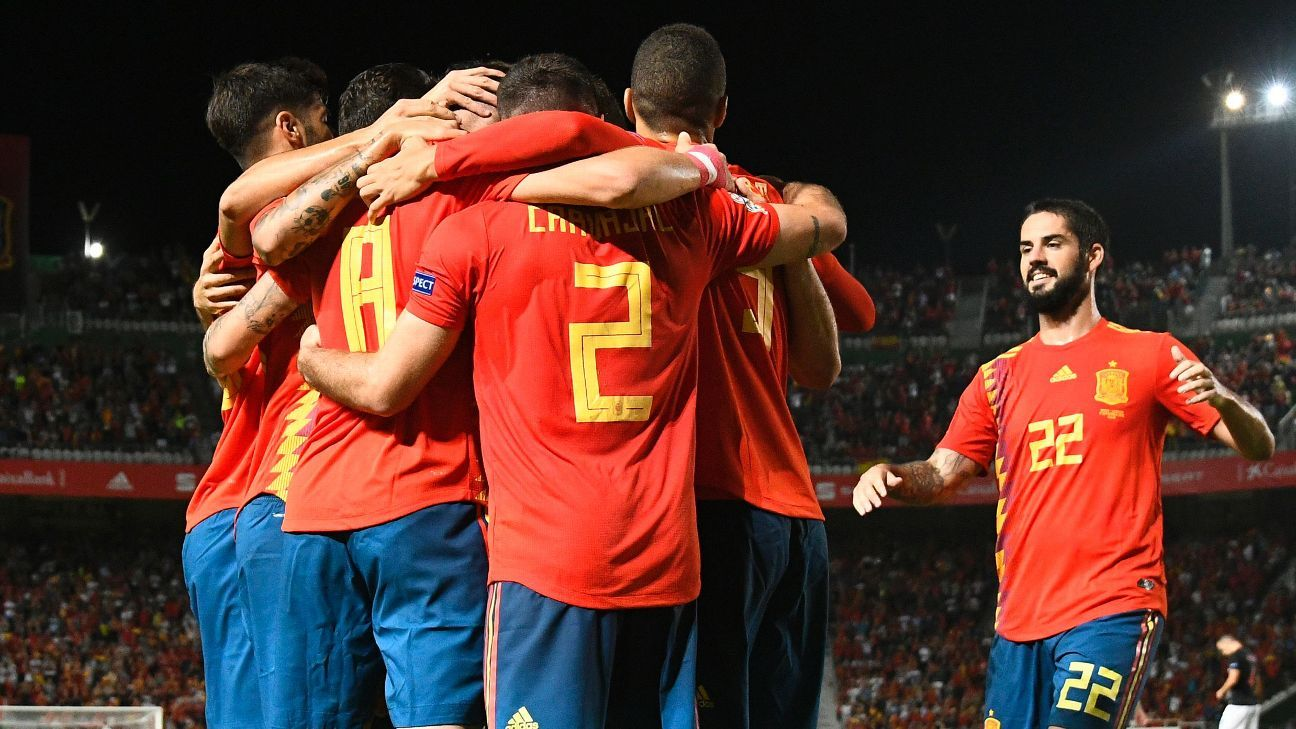 Spain players celebrate after scoring during their UEFA Nations League match against Croatia.