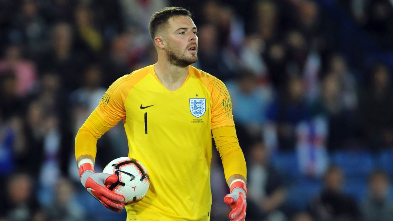 Jack Butland in action for England against Switzerland in a 1-0 friendly win.