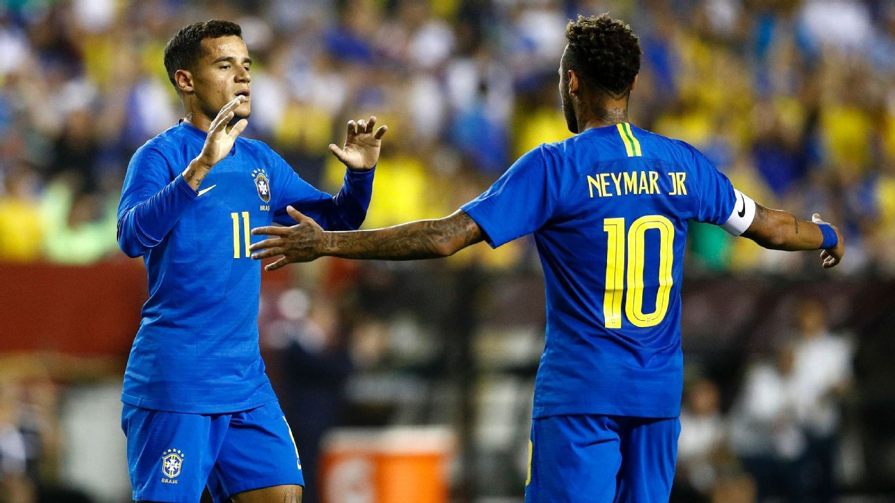 Philippe Coutinho and Neymar scored two of Brazil's three goals in the first half against El Salvador.