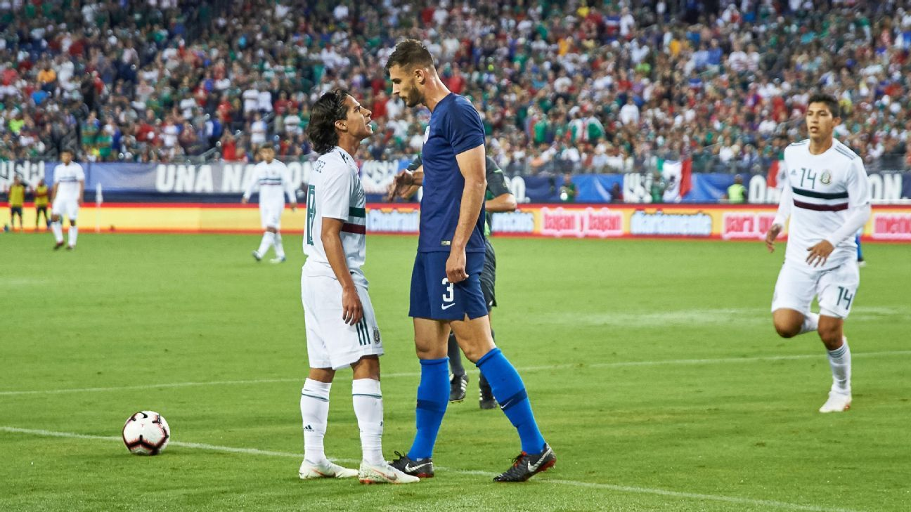 Diego Lainez and Matt Miazga come together during the friendly between Mexico and the U.S.