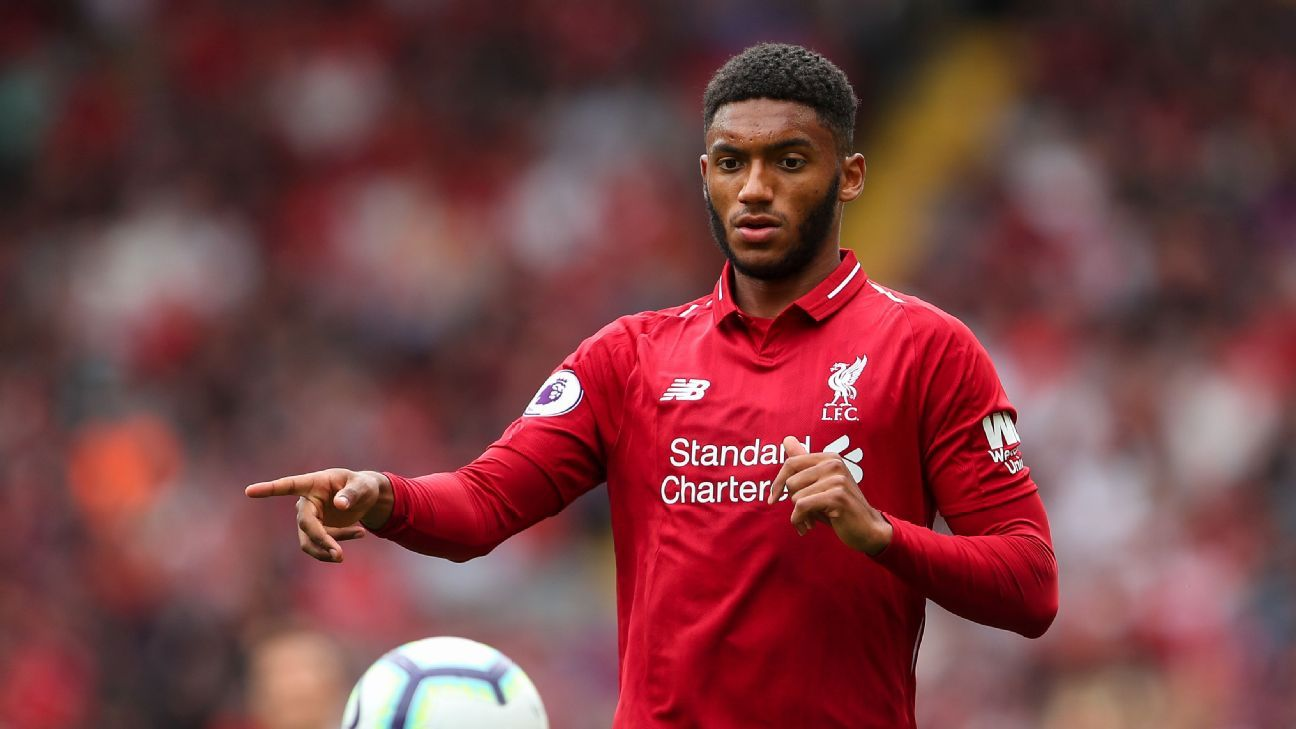Joe Gomez controls the ball during Liverpool's Premier League win over West Ham.