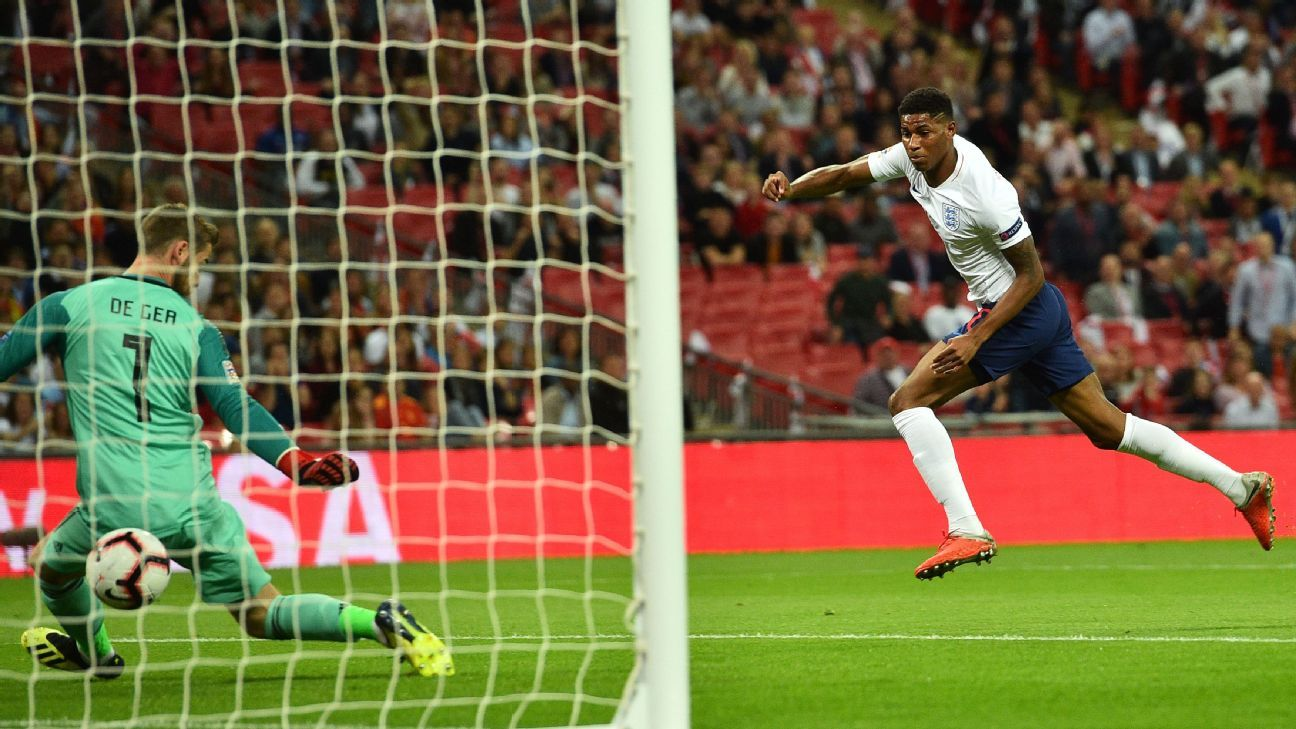 Marcus Rashford scored his first goal of the 2018-19 season in England's match against Spain