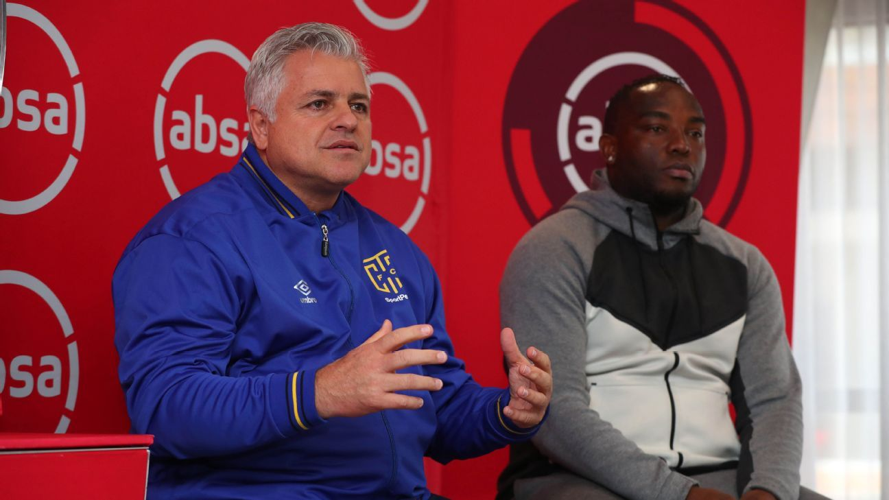 John Comitis, chairman of Cape Town City, with and coach Benni McCarthy