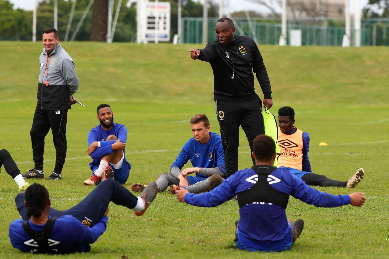 Cape Town City coach Benni McCarthy instructs his players during training