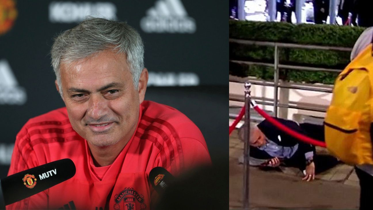 Jose Mourinho said his embarrassing trip and fall at Wembley was done on purpose