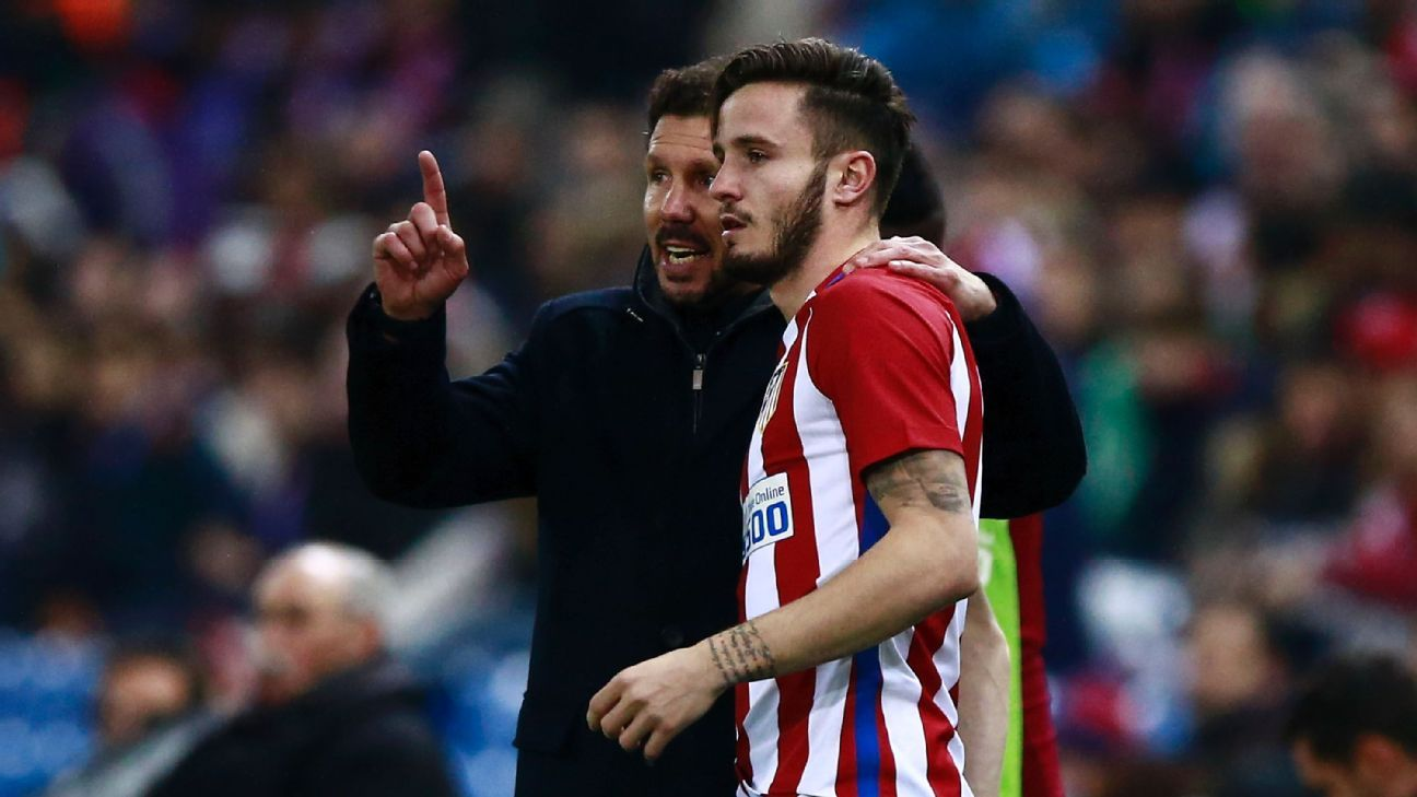 Simeone, left, has nothing but praise for Saul and has relied on him at times to fit whatever Atletico need.