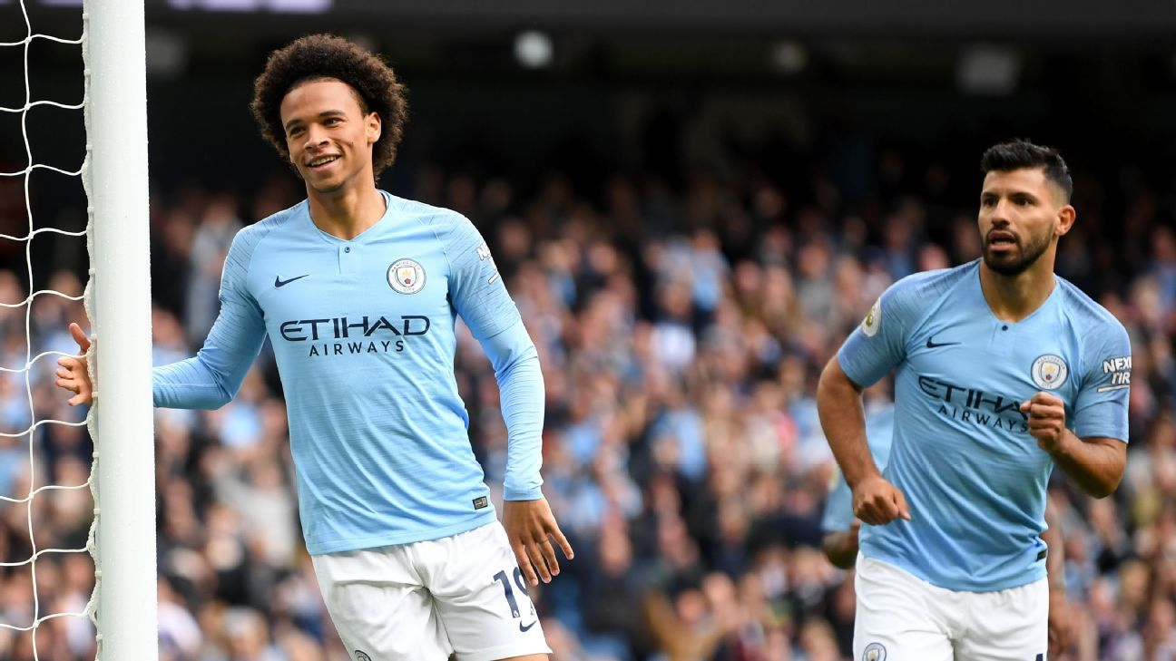 Leroy Sane celebrates after scoring for Manchester City against Fulham.