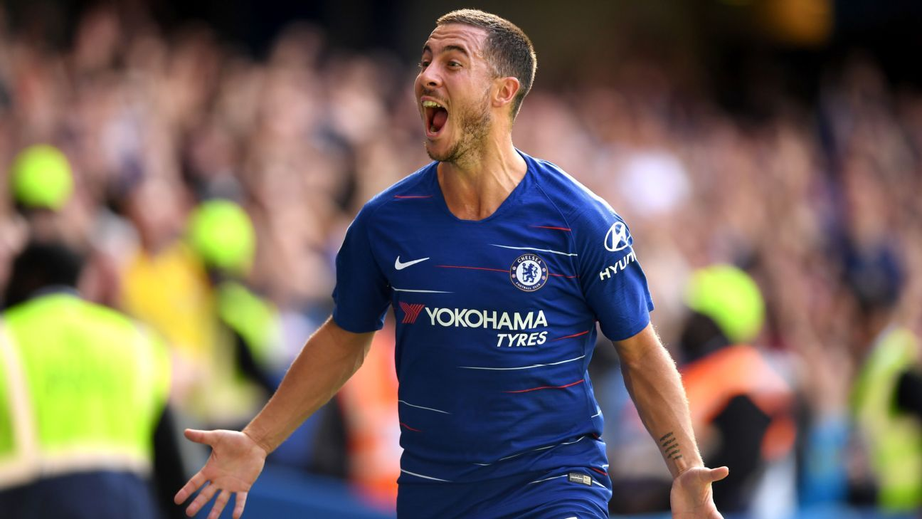 Chelsea's Eden Hazard celebrates one of his three goals vs. Cardiff.
