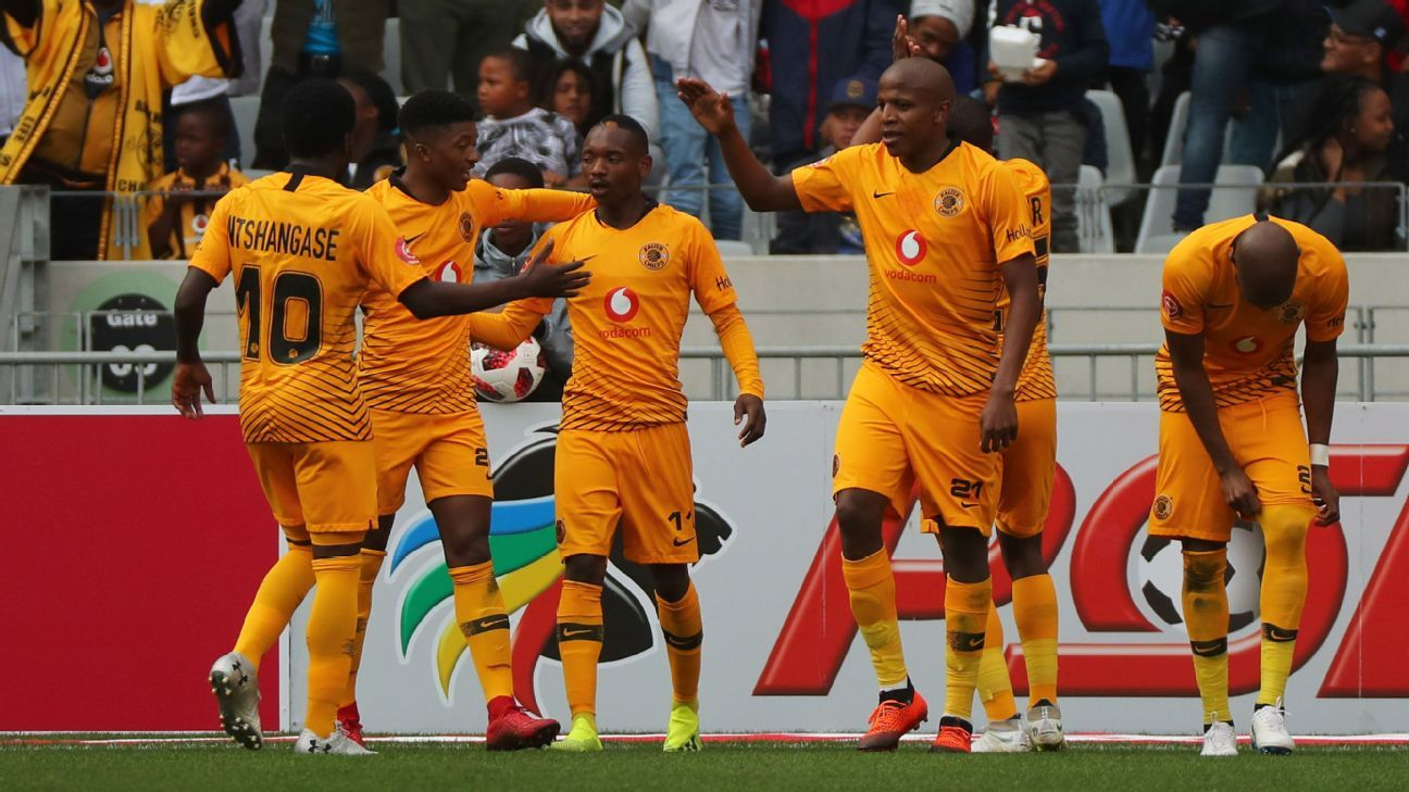Khama Billiat of Kaizer Chiefs celebrates a goal with teammates