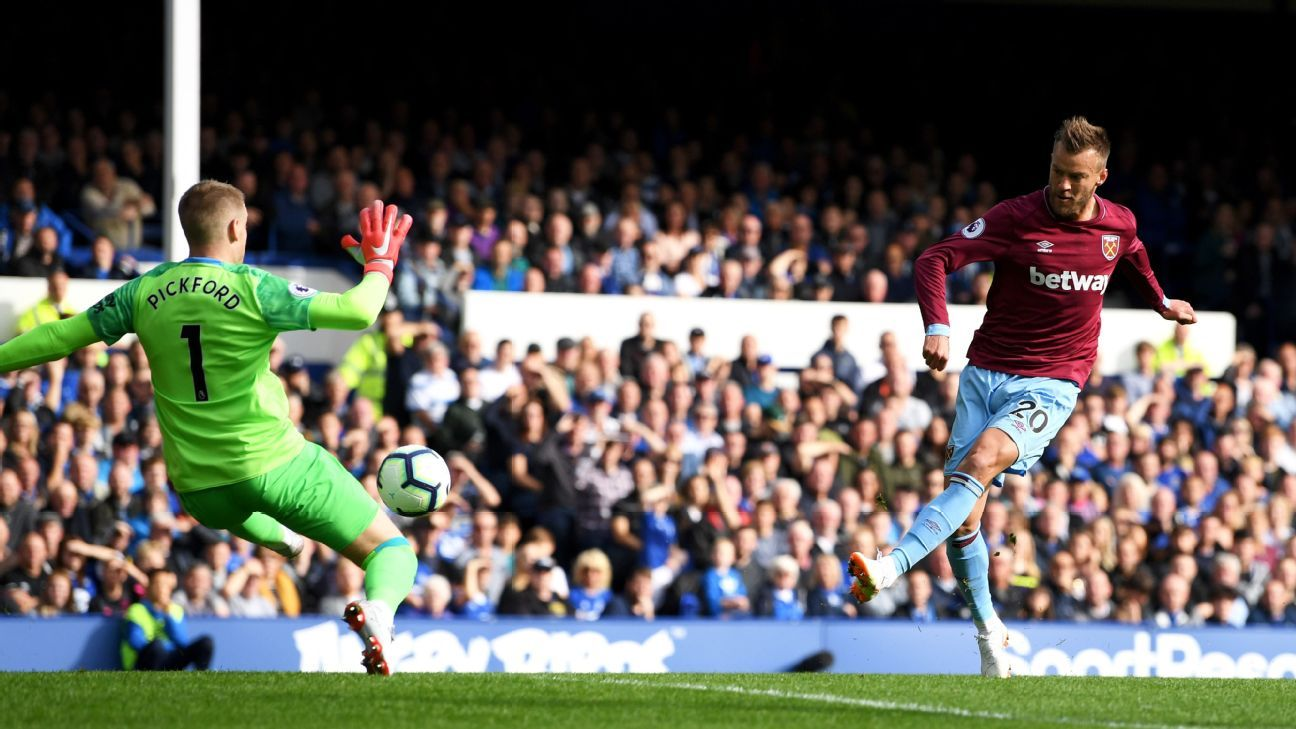 Andriy Yarmolenko gives West Ham United the lead at Everton.