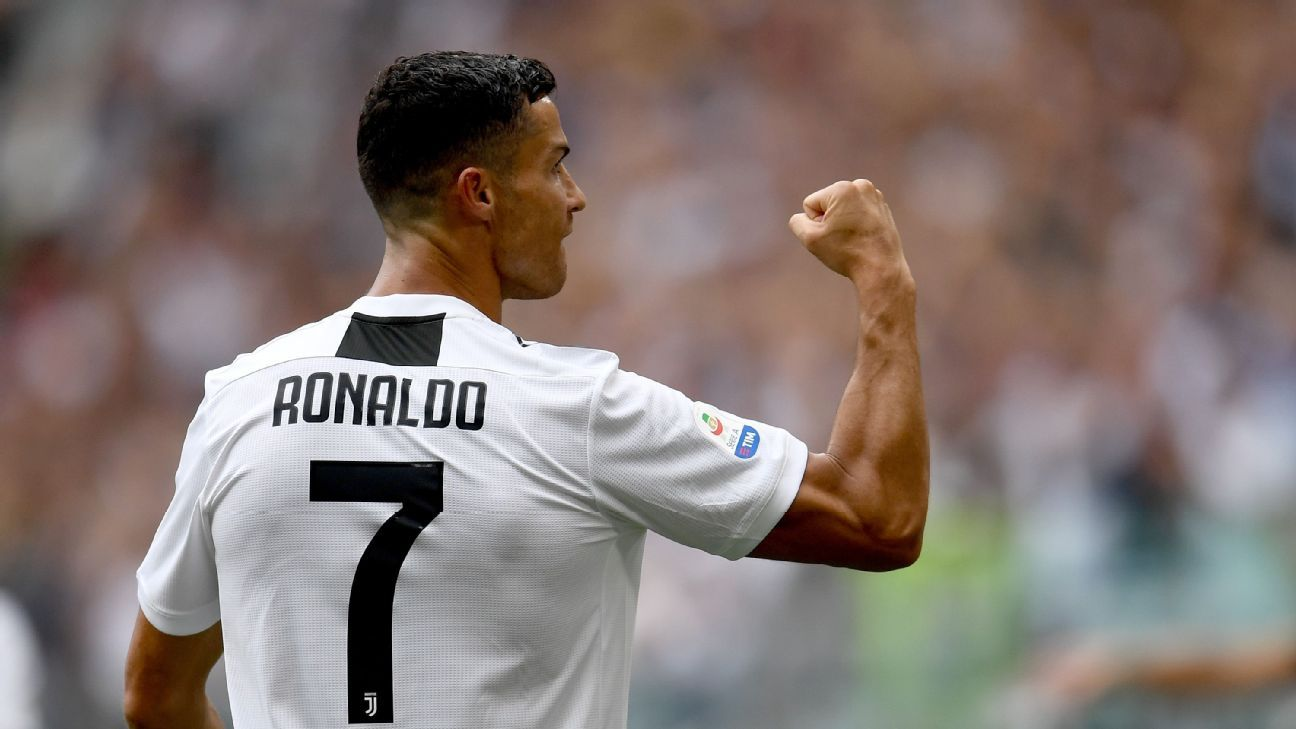 Cristiano Ronaldo celebrates after scoring his first goal for Juventus.