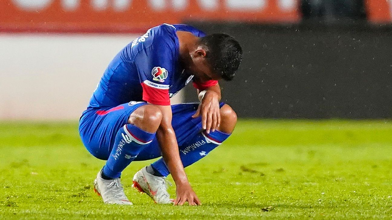 Elias Hernandez of Cruz Azul shows his frustration after the game.